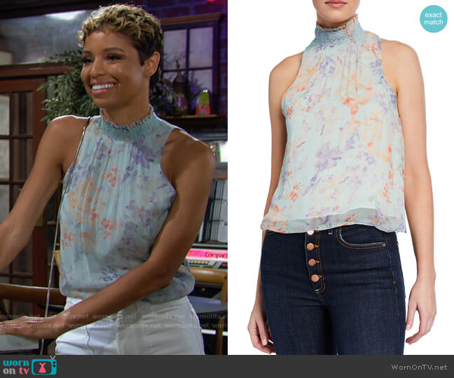 Alice + Olivia Annmarie Floral-Print Smocked Turtleneck Tank Top worn by Elena Dawson (Brytni Sarpy) on The Young & the Restless