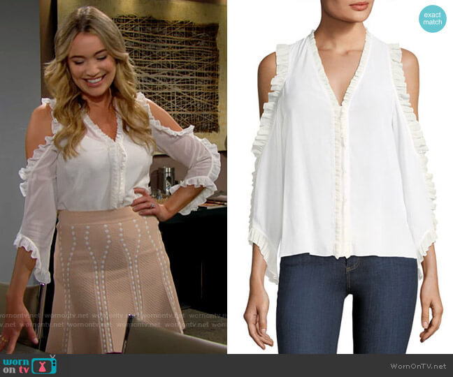 Alice + Olivia Claudette Blouse worn by Flo Fulton (Katrina Bowden) on The Bold & the Beautiful
