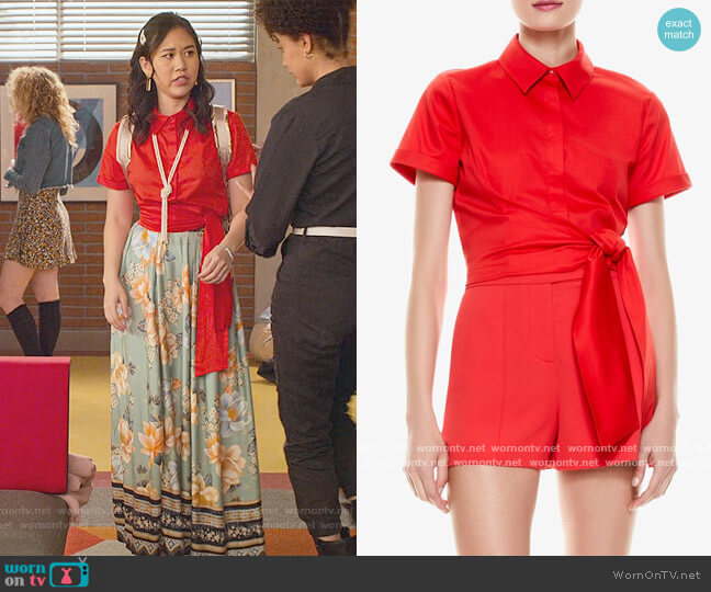 Cropped Knotted Blouse by Alice + Olivia worn by Fabiola Torres (Lee Rodriguez) on Never Have I Ever