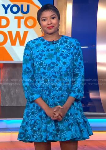 Alicia L Quarles's blue floral mini dress on Good Morning America