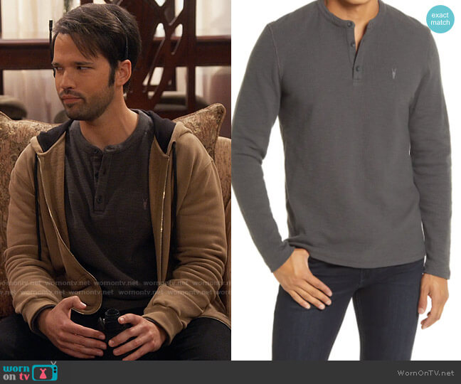 All Saints Muse Long Sleeve Thermal Henley worn by Freddie Benson (Nathan Kress) on iCarly
