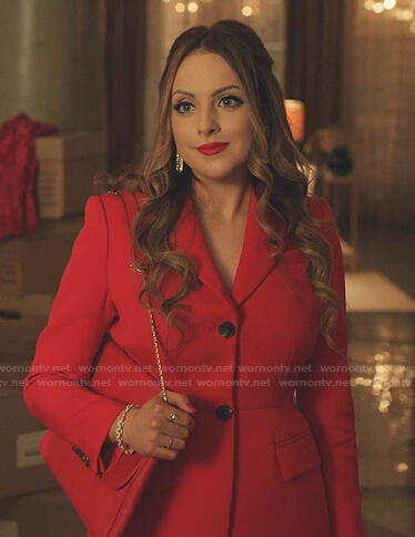 Fallon's red pleated back blazer on Dynasty