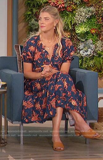 Amanda's blue floral print dress on The Talk