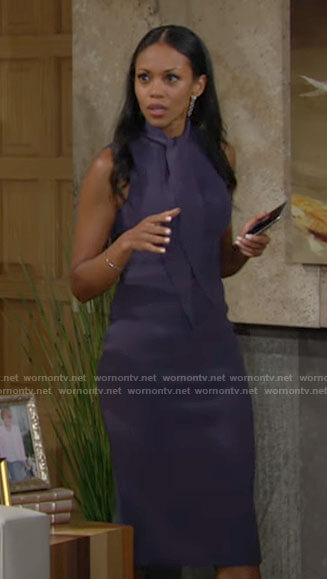 Amanda's blue sleeveless tie neck dress on The Young and the Restless