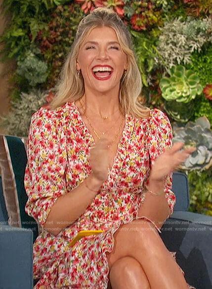 Amanda's floral print ruffle mini dress on The Talk