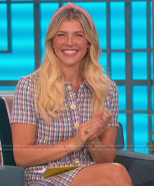 Amanda's check tweed dress on The Talk