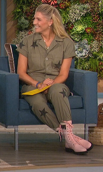 Amanda's green star embroidered jumpsuit on The Talk