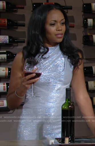 Amanda's metallic sleeveless dress on The Young and the Restless