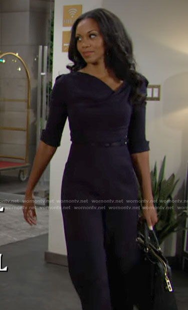 Amanda's navy blue jumpsuit on The Young and the Restless