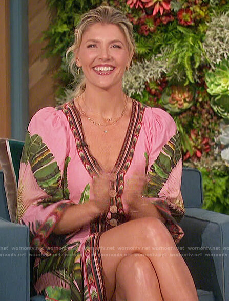 Amanda's pink palm print dress on The Talk