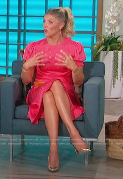 Amanda's pink satin midi dress on The Talk