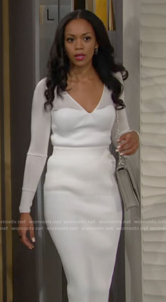Amanda's white knit top and skirt set on The Young and the Restless