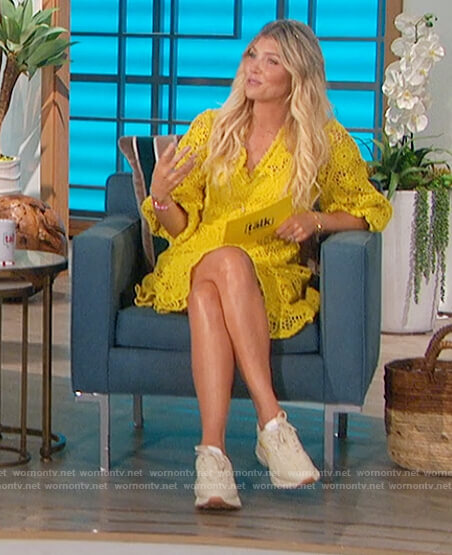 Amanda's yellow lace mini dress on The Talk