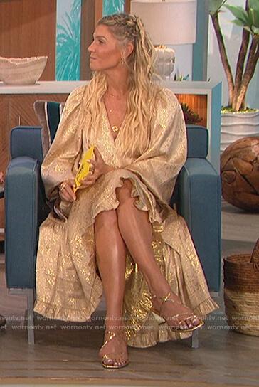 Amanda's gold metallic tie waist dress on The Talk
