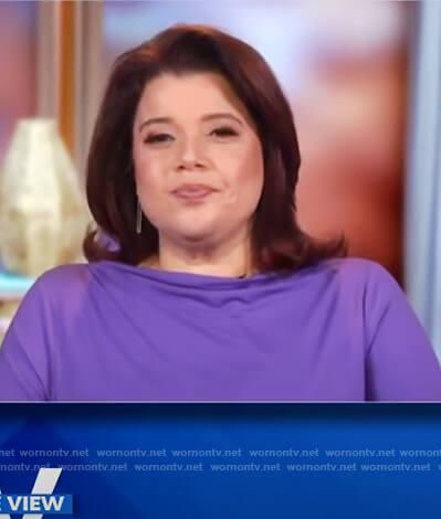 Ana's purple drape neck top on The View