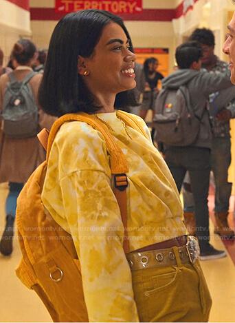 Devi's floral bomber jacket on Never Have I Ever