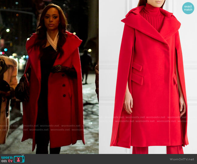 Antonio Berardi Cape Effect Wool and Mohair Coat worn by Whitney Green (Amber Stevens West) on Run the World
