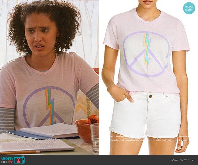 Lauren Moshi x AQUA Electric Peace Print Tee by Aqua worn by Fabiola Torres (Lee Rodriguez) on Never Have I Ever
