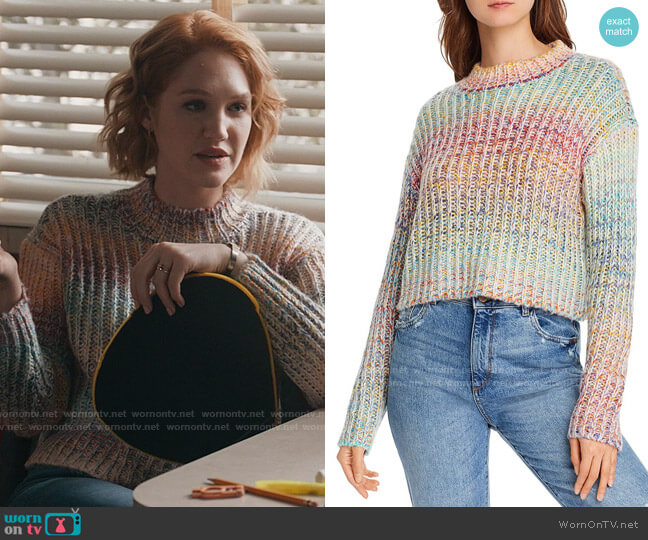 Aqua Rainbow Marled Cropped Sweater worn by Corinne Dearborn (Hope Lauren) on The Republic of Sarah