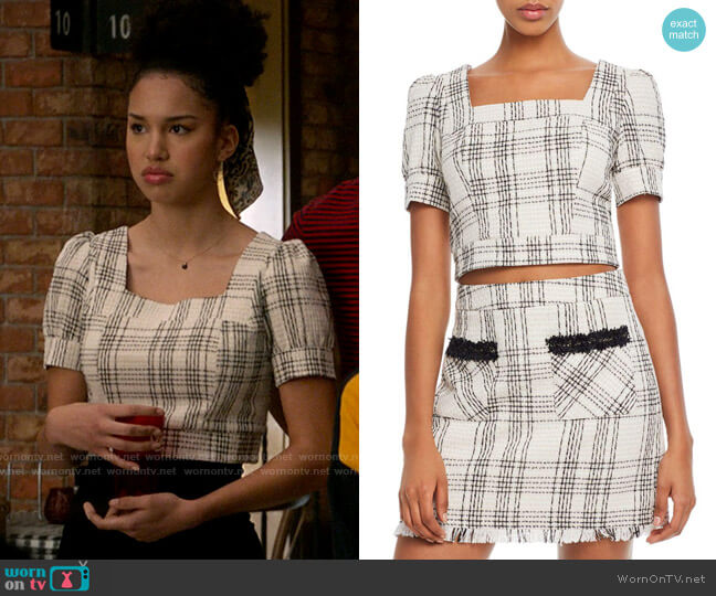 Aqua Puff-Sleeve Tweed Cropped Top worn by Gina (Sofia Wylie) on High School Musical The Musical The Series