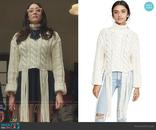 Cropped Cable Knit Sweater by Area worn by Luna La (Zión Moreno) on Gossip Girl