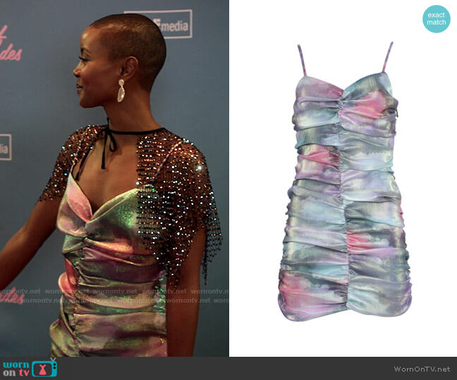 Area Multicolored Ruched Mini Dress worn by Ella McFair (Andrea Bordeaux) on Run the World