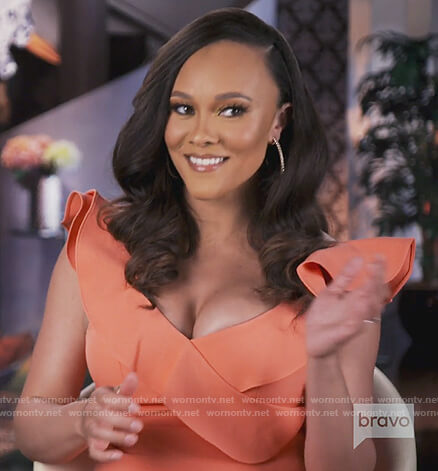 Ashley's coral ruffle mini dress on The Real Housewives of Potomac