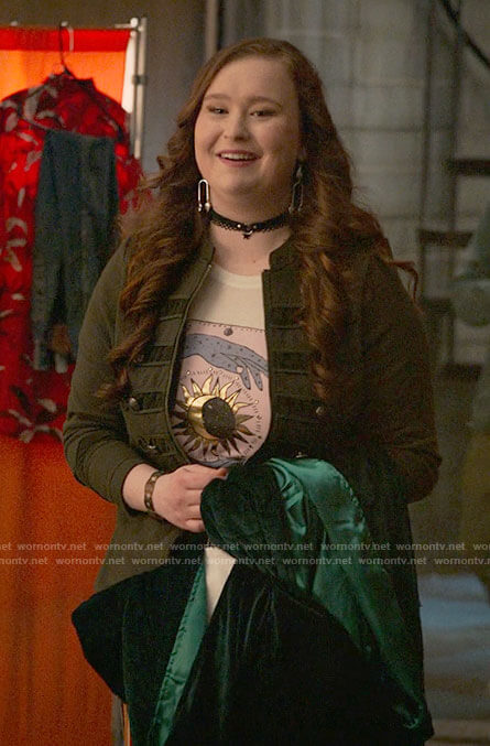 Ashlyn's green military jacket on High School Musical The Musical The Series