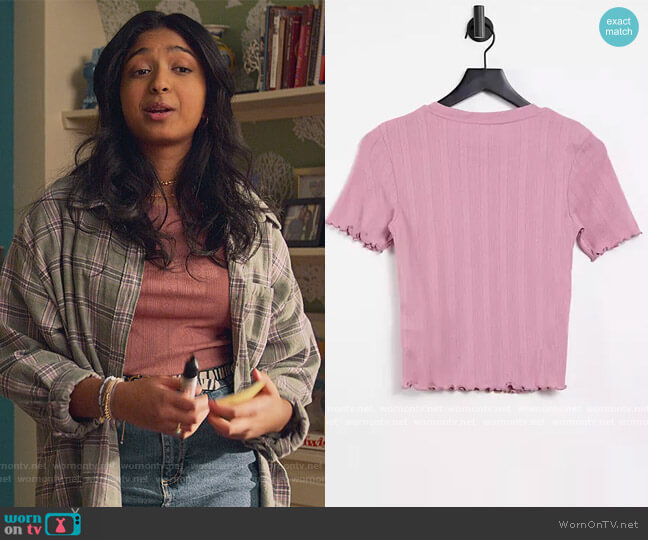 On pointelle tee in pink by ASOS worn by Devi Vishwakumar (Maitreyi Ramakrishnan) on Never Have I Ever
