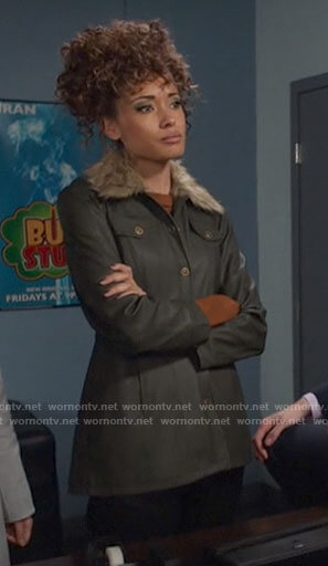 Astra's green leather jacket with fur collar on Legends of Tomorrow