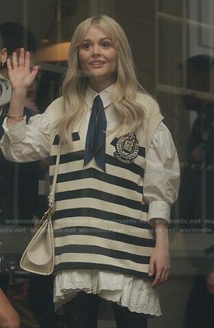 Audrey's oversized striped vest on Gossip Girl