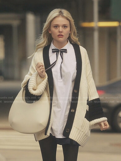 Audrey's white oversized cardigan on Gossip Girl