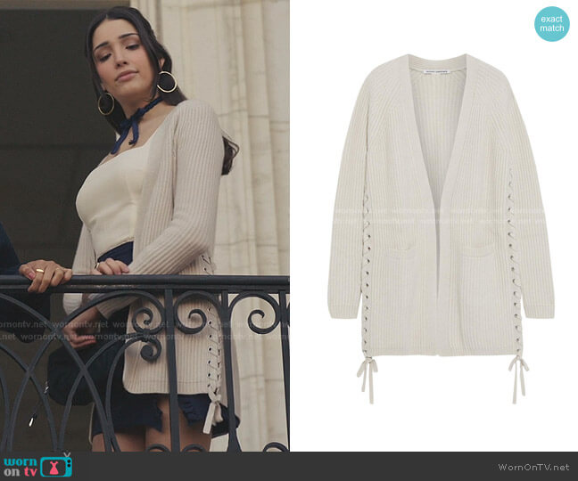 Lace-up Ribbed-Knit Cardigan by Autumn Cashmere worn by Luna La (Zión Moreno) on Gossip Girl
