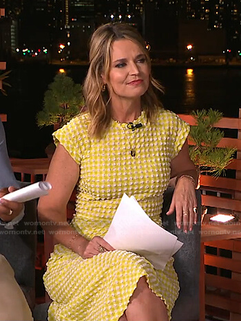 Savannah's yellow textured gingham dress on Today