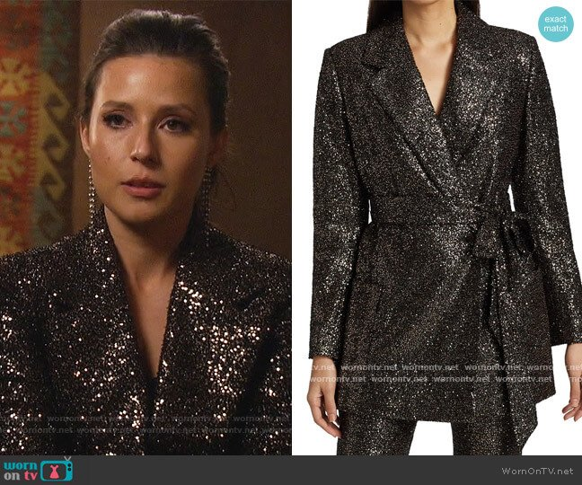 Micro Sequin Belted Jacket by Badgley Mischka worn by Katie Thurston  on The Bachelorette