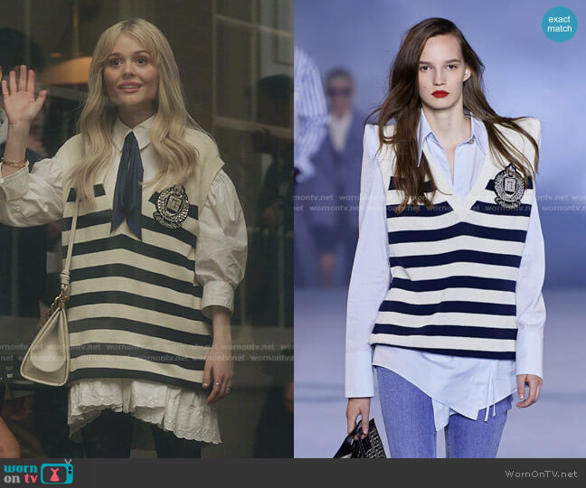 Spring 2021 Collection by Balmain worn by Audrey Hope (Emily Alyn Lind) on Gossip Girl