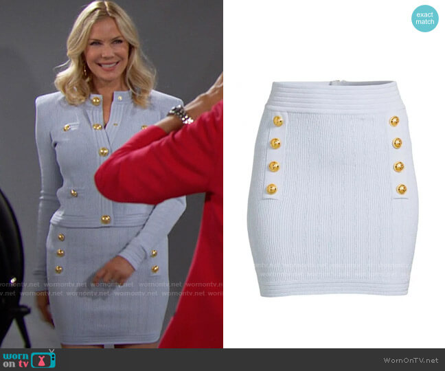 Balmain Button Detail Ribbed Knit Skirt worn by Brooke Logan (Katherine Kelly Lang) on The Bold & the Beautiful