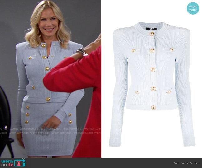 Balmain Button Detail Ribbed Knit Cardigan worn by Brooke Logan (Katherine Kelly Lang) on The Bold & the Beautiful