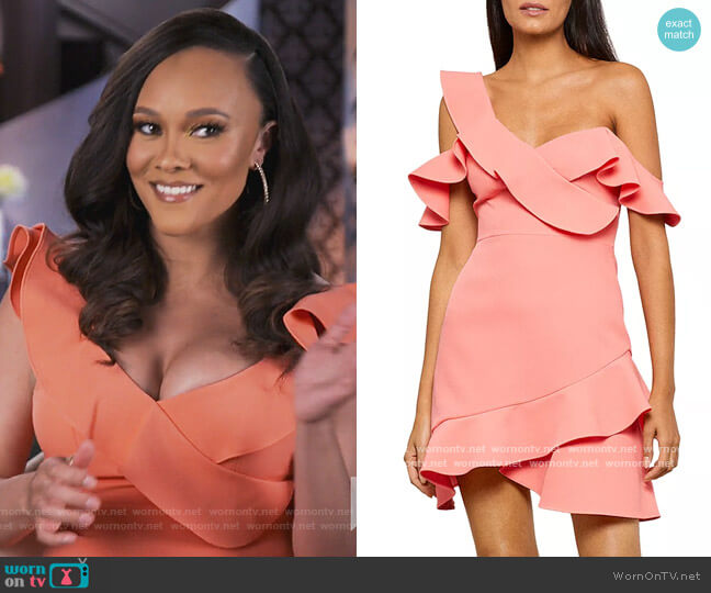 Malik Asymmetric Ruffle Off-the-Shoulder Mini Dress by BCBGMAXAZRIA worn by Ashley Darby  on The Real Housewives of Potomac