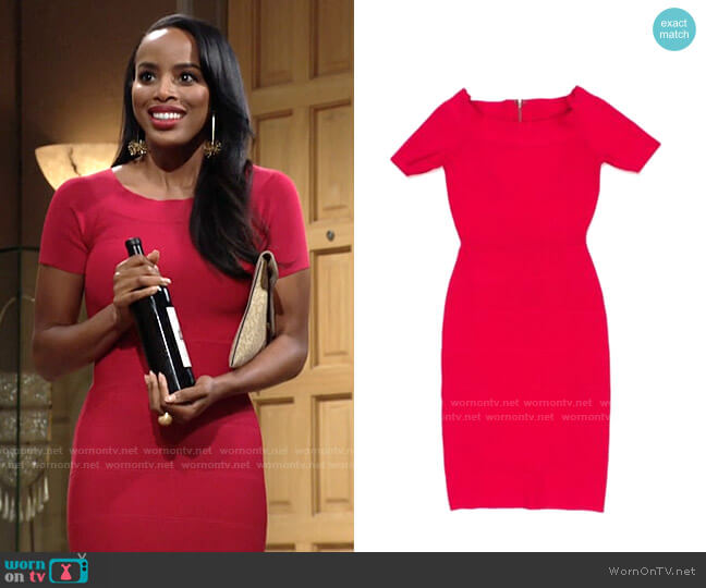 Bcbgmaxazria Kisha Bandage Dress worn by Imani Benedict (Leigh-Ann Rose) on The Young & the Restless