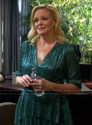 Belle's green metallic tiered dress on Days of our Lives