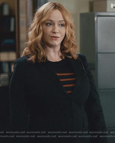 Beth's black and orange striped sweater on Good Girls
