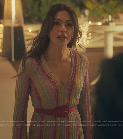 Billie's metallic striped dress on Sex/Life