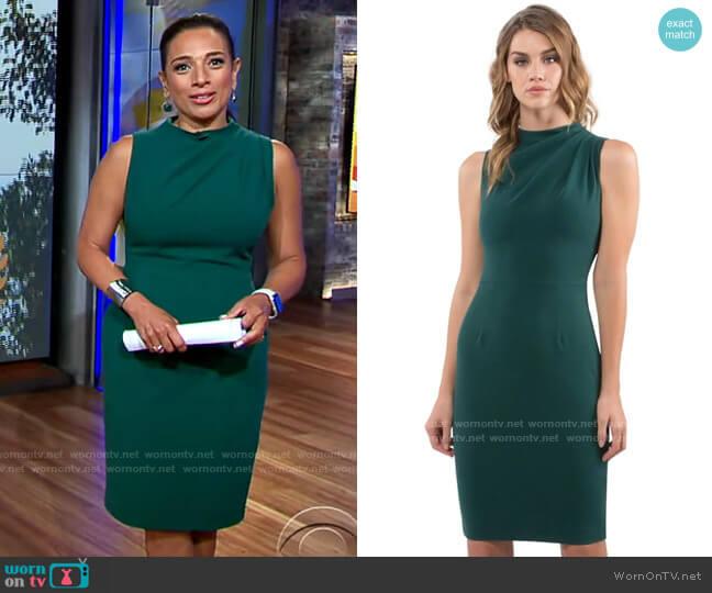 Black Halo Corrine Dress worn by Michelle Miller  on CBS Mornings
