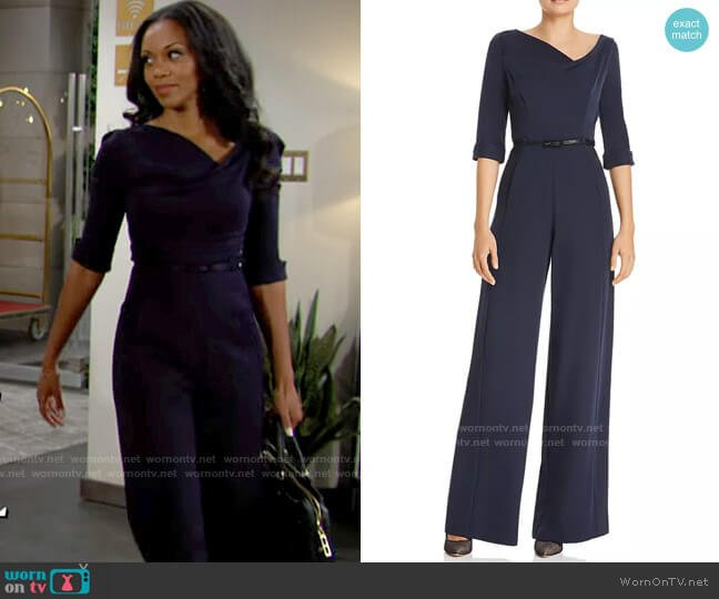 Black Halo Jackie Jumpsuit worn by Amanda Sinclair (Mishael Morgan) on The Young & the Restless