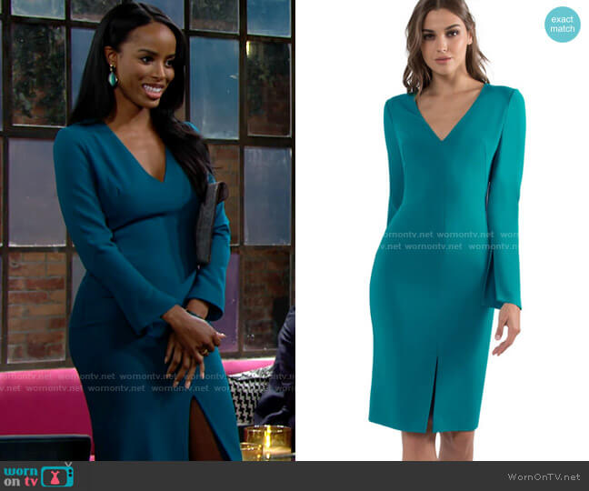 Black Halo Sambora Sheath worn by Imani Benedict (Leigh-Ann Rose) on The Young & the Restless