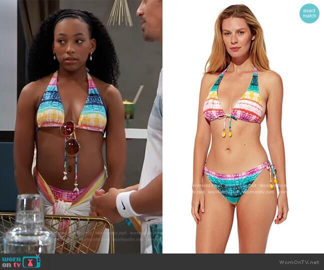 Good Vibrations Tall Triangle Bikini Top by Bleu Rod Beattie worn by Trina (Sydney Mikayla) on General Hospital