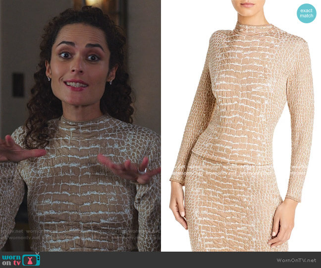 Fabricia Croc Print Top by Boss worn by Stephanie Nogueras on The Good Fight