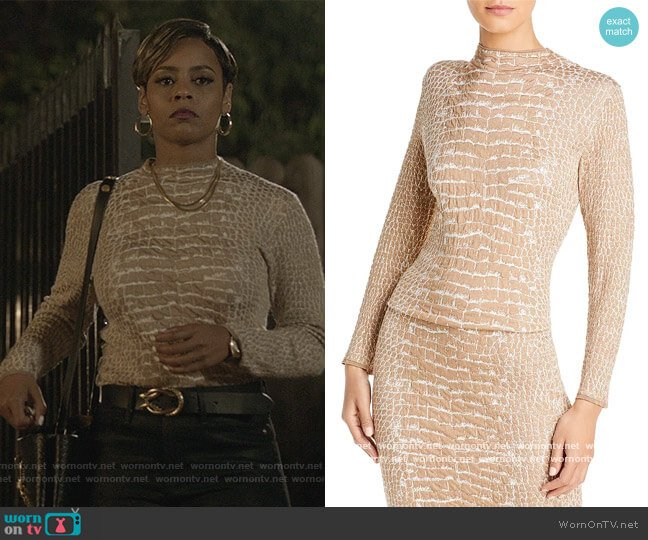 Fabricia Textured Knit Top by BOSS worn by Erica Peeples on All American