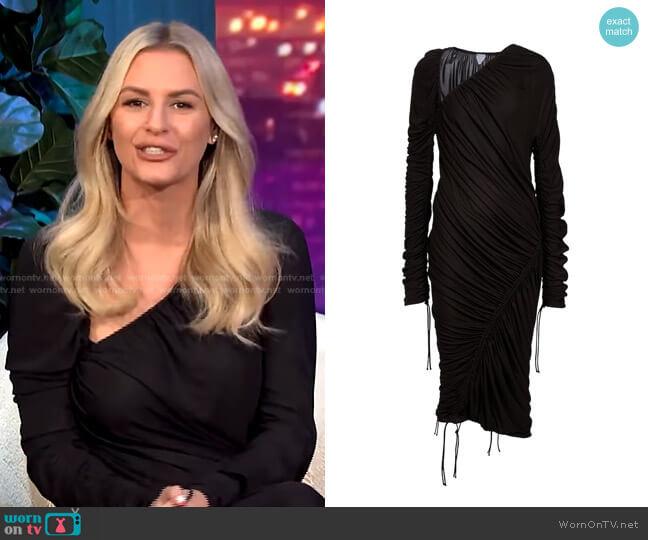 Draped Asymmetric Midi Dress by Bottega Veneta worn by Morgan Stewart  on E! News